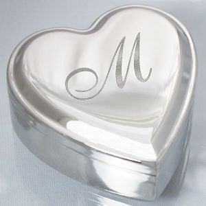 Personalized engraved initial heart jewelry box for Jewelry box with initials