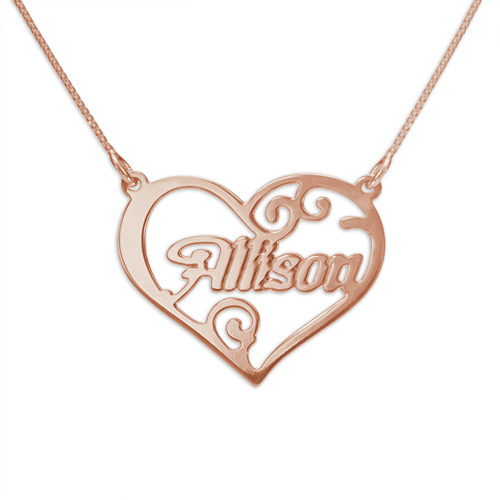 Personalized fancy heart 18k rose gold over sterling for Rose gold personalized jewelry