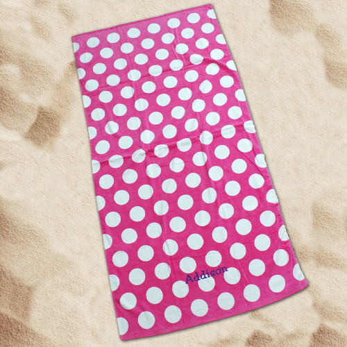 Personalized Pink Polka Dot Fun Beach Towel