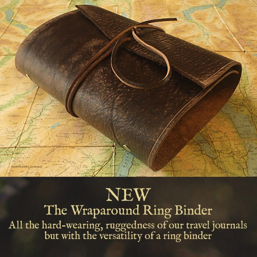 Distressed Dark Brown Leather Wraparound Ring Binder - Earthworks Journals