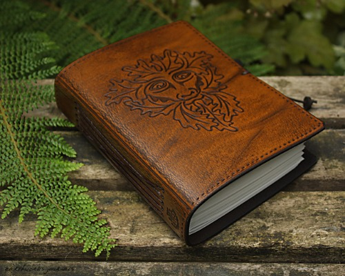 A6 Green Man Hand Bound Leather Journal
