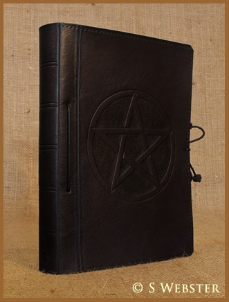 A5 Pentagram 'Pentacle' Black Leather Journal with Removable Pages