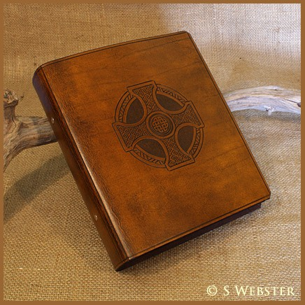 A5 Celtic Cross Brown Leather Ring Binder - Earthworks Journals