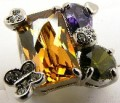 Large Princess Cut Orange / Green / Purple Diamond Cz Stone Rhodium Silver Ring