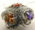 Womens Princess Cut Purple / Orange / Ruby Red Diamond Cz Stone Rhodium Silver Ring