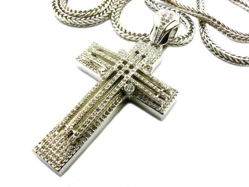 "Totally Iced Out Black Diamond Cz Hip Hop Cross Pendant 36"" Chain"