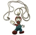 "Genuine Diamond Cz Super Mario Rhodium Silver Pendant 36"" Chain Necklace"