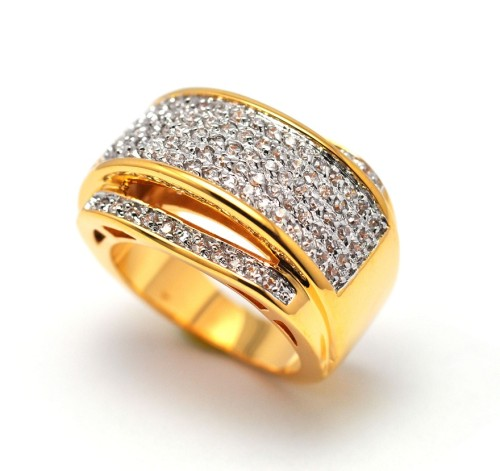 Men's Iced Out Diamond Cz Gold Highway Hip Hop Micro-Pave Ring