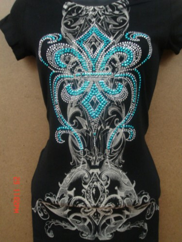 6 pcs fleur de lis color heavy rhinestone tattoo womens for Tattoo t shirts wholesale