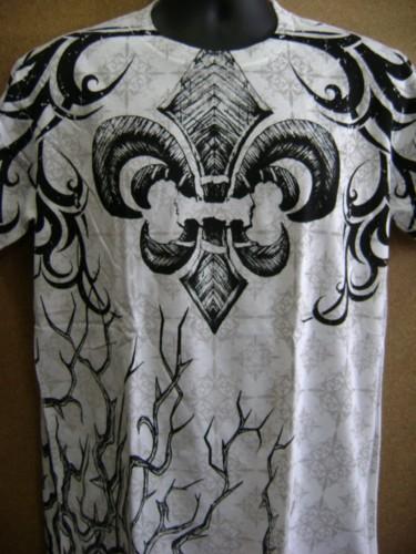 6 pcs fleur de lis wing graphic designed tattoo mens for Tattoo t shirts wholesale