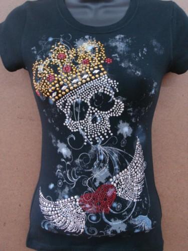 6 pcs plus size crown skull heavy rhinestone tattoo womens for Tattoo t shirts wholesale
