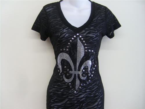 6 pcs fleur de lis rhinestones tattoo womens burn out t for Tattoo t shirts wholesale