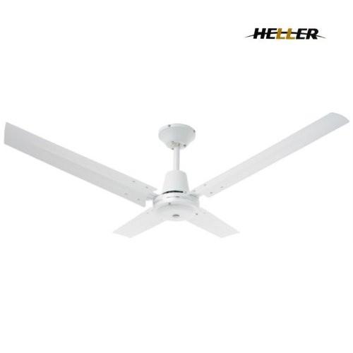 Angus Industrial Wall Light: HELLER 4 Blade Aluminium ANGUS Ceiling Fan White
