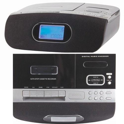 cassette player music box with digital mp3 encoding am fm tuner alarm clock ebay. Black Bedroom Furniture Sets. Home Design Ideas