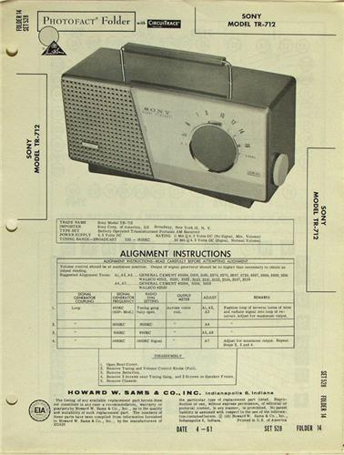 Sony Model Tr-712 Radio Portable Sams Photofact