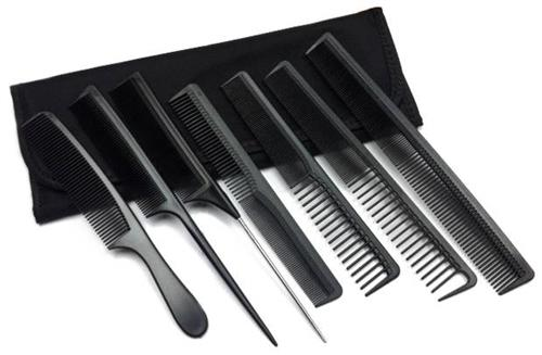 7 Piece Professional Hair Stylist Carbon Comb Set With Case