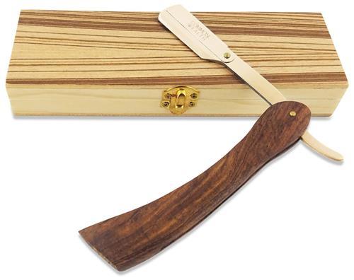 Common Wealth Wood Gold Straight Edge Classic Folding Barber Shaving Razor With Case
