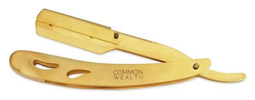 Common Wealth Gold Folding Stainless Steel Barber Straight Edge Shaving Razor
