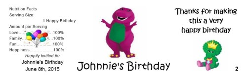 Birthday Water Bottle Labels Barney 24 Qty. - partyfavorsforall