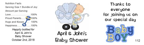Baby Shower Water Bottle Labels Boy - partyfavorsforall