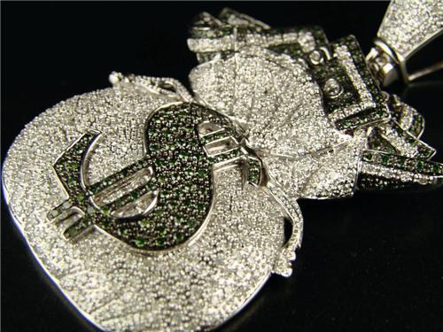10k Mens Money Bag Diamond Pendant Charm Cross 5 85 Ct