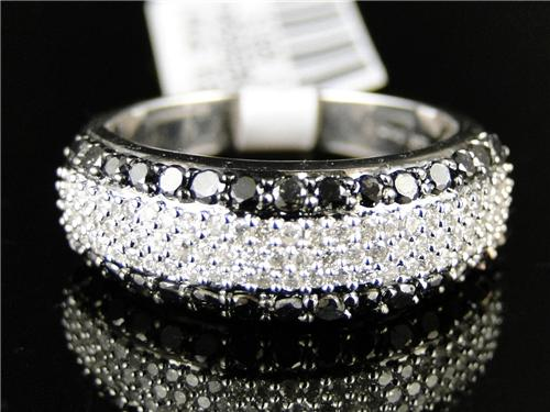 MENS WOMENS WHITE GOLD BLACK AND WHITE DIAMOND WEDDING FASHION BAND RING 1 CT