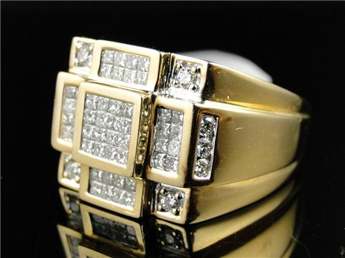 Men S K Yellow Gold Invisible Setting Diamond Pinky Rings