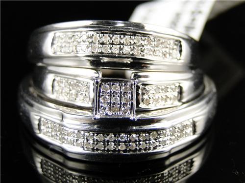 ladies mens white gold finish diamond engagement bridal wedding ring trio set - Wedding Ring Trio Sets