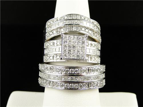3 ct mens ladies princess cut diamond ring trio engagement wedding ring set - Wedding Ring Trio Sets