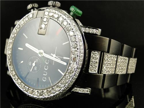 new custom mens diamond gucci ya101331 watch 9 ct sides and band new custom mens diamond gucci ya101331 watch 9 ct sides and band