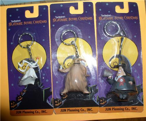 Nightmare Before Christmas Zero, Mayor and Oggie Boogie 3 key chains MOC Japan