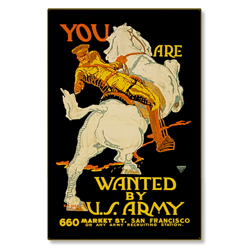 R000006-12 WWI Propaganda Poster You Are Wanted By US Army Steel Metal Vintage Image Wall Decor Art