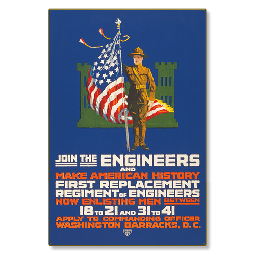 R000007-12 WWI Propaganda Poster US Army Engineers Steel Metal Vintage Image Wall Decor Art