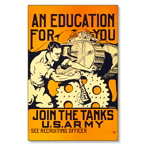 R000008-12 WWI Propaganda Poster US Army Tank Corps Steel Metal Vintage Image Wall Decor Art