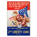 R000026-12 WWI Propaganda Poster 2nd Liberty Loan 1917 Steel Metal Vintage Image Wall Decor Art