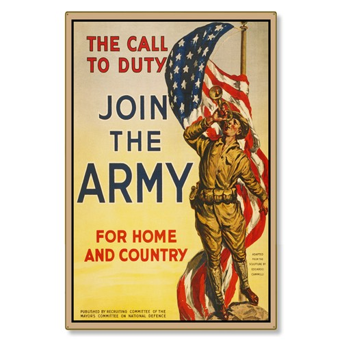 R000034-12 WWI Propaganda Poster Join the US Army Call Of Duty Steel Metal Vintage Image Wall Decor