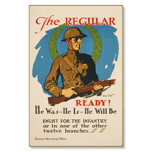 R000036-12 WWI Propaganda Poster Enlist For the Infantry US Army Steel Metal Vintage Image Wall Deco