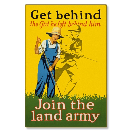 R000047-12 WWI Propaganda Poster Join the Home Front Land Army Steel Metal Vintage Image Wall Decor