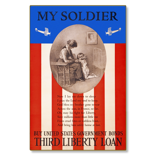 R000049-12 WWI Propaganda Poster My Soldier Liberty Loan Prayer Steel Metal Vintage Image Wall Decor