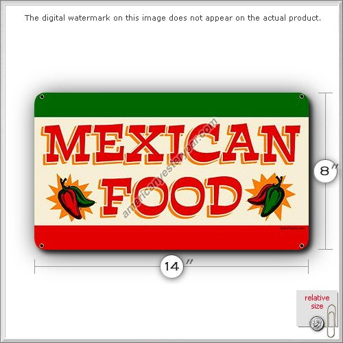 Mexican food tin metal sign reproduction american for Plaque metal cuisine
