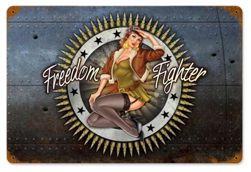Freedom Fighter Military Pin Up Girl Tin Metal Sign ...