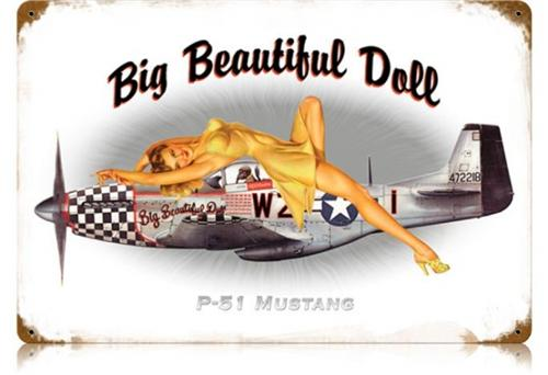 wwii aircraft p51 mustang pin up girl tin metal sign american yesteryear metal signs. Black Bedroom Furniture Sets. Home Design Ideas