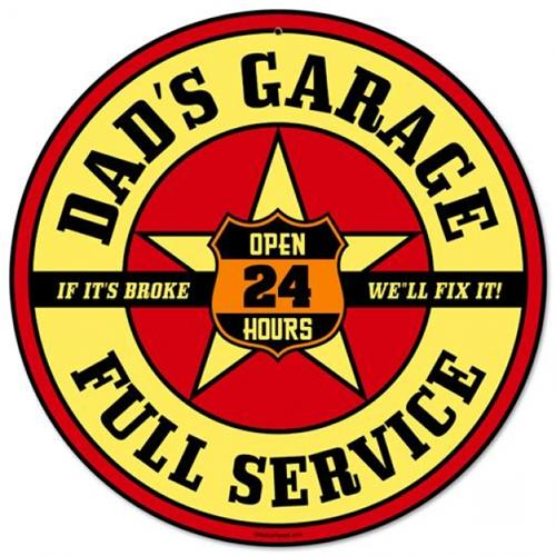 Dads Garage Full Service Tin Metal Sign Reproduction