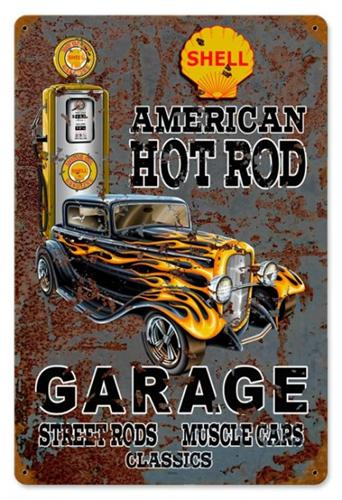Hot Rod Shell Gas Tin Metal Sign