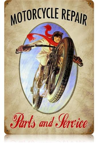 Motorcycle Repair Service Retro Large Tin Metal Sign
