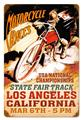 Los Angeles Motorcycles Races Retro Tin Metal Sign
