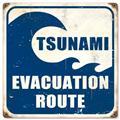 Tsunami Evacuation Route Tin Metal Sign