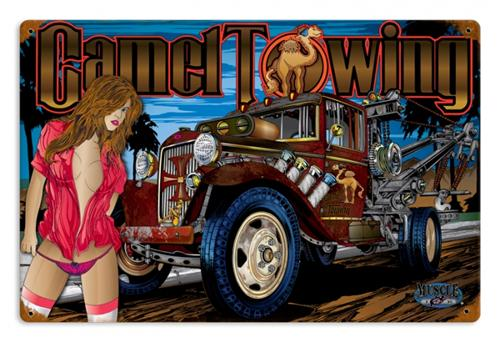 Mobile Auto Garage Signs : Camel towing automotive humor tin metal sign reproduction