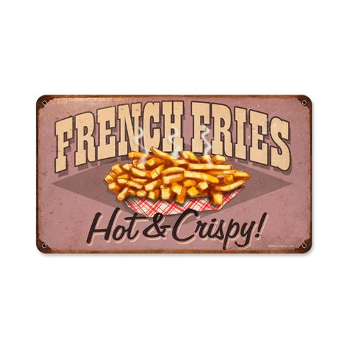 Retro french fries hot crispy tin metal sign for Plaque metal cuisine