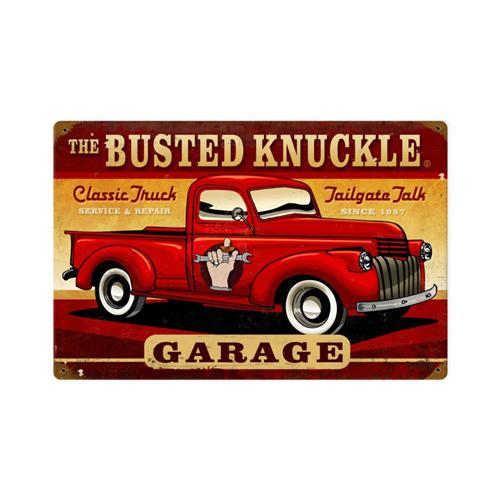 busted knuckle garage classic truck retro tin metal sign. Black Bedroom Furniture Sets. Home Design Ideas
